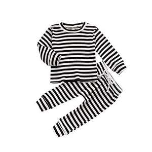 HZYKOK Toddler Baby Girls Boys 2 Pieces Pants Set Solid Stripe Knitted Long Sleeve Tops Sweatshirt & Pants Pajamas Outfits Tracksuit Toddler Girl Clothes (Black, 12-18 Months)