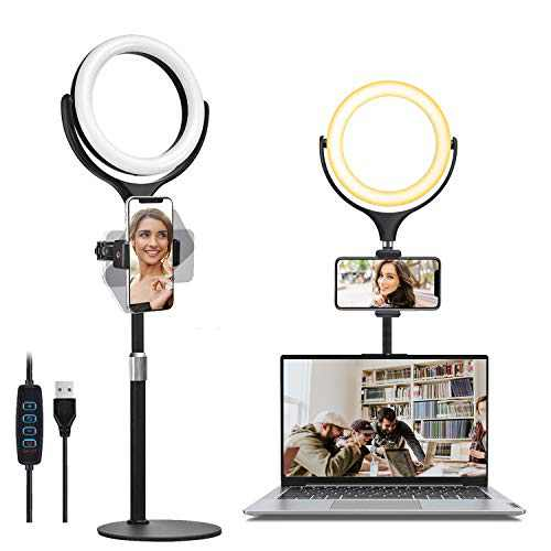 """8"""" Laptop Ring Light for Computer Video Conference Lighting, Wixann Desk Selfie RingLight with Stand and Phone Holder for Zoom Meeting Recording, Live Stream, Makeup, YouTube, Tiktok, Webcam Light"""