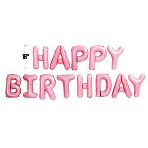 Happy Birthday Balloon Banner Bunting 16 inch Letters Foil Balloons Party Decor (Light Pink)