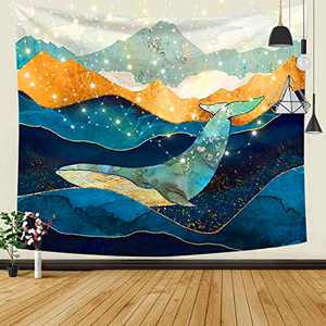 Psychedelic Mountain Sea Tapestry Wall Hanging,Nature Landscape Tapestries,Background Painted with Watercolor Hand Drawn Landscape for Bedroom Living Room Dorm Home Decor,59 x 51 Inch,Whale Fall