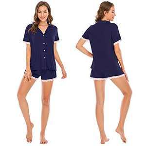 MEETWEE Women's Pajamas Set Short Sleeve, Sleepwear Button-Down Nightwear Soft Pjs Set