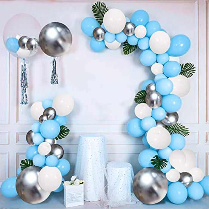 Magic4U Blue Balloon Arch Garland Kit,Party Balloon Decoration,126 Pcs Blue White Silver Latex Balloon Arch Set for Birthday Wedding Kid Party Decoration