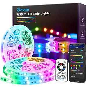 Govee RGBIC LED Strip Lights, 32.8FT Bluetooth Color Picking LED Lights with Segmented Color Control, Music Mode, App & Remote Control Light Strip for Bedroom, Kitchen, Living Room, Party 2×16.4FT