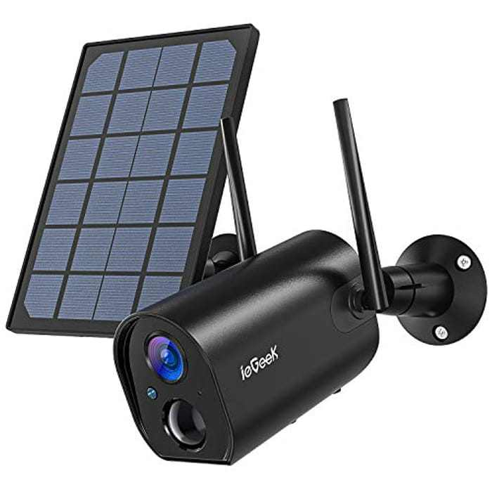 ieGeek Solar Security Camera Outdoor Wireless,Rechargeable Battery Powered CCTV Camera with Solar Panel,1080P Upgraded WiFi Camera,PIR Motion Detect,Night Vision,2-Way Audio,IP65 Waterproof,SD/Cloud
