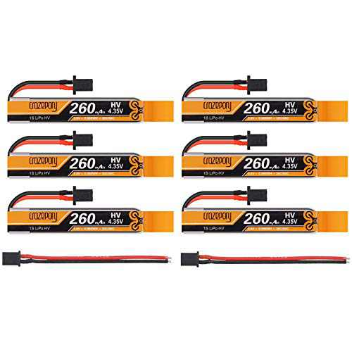6pcs 260mAh HV 1S LiPo Battery 30C 3.8V LiHV with 2PCS 50mm GNB27 Female Connector for FPV Tiny Whoop 1S Brushless Whoop Drone Like Metreor65 Micro Whoop Drone