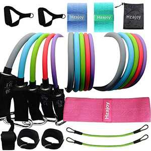 Hzajoy Resistance Bands with Handles Set Door Anchor 17 pcs Loop Fabric Booty Bands Legs Butt Squat Hip Circle Glute Cloth Thigh Exercise Bands Workout Band Fitness Clips Ankle Shoulders