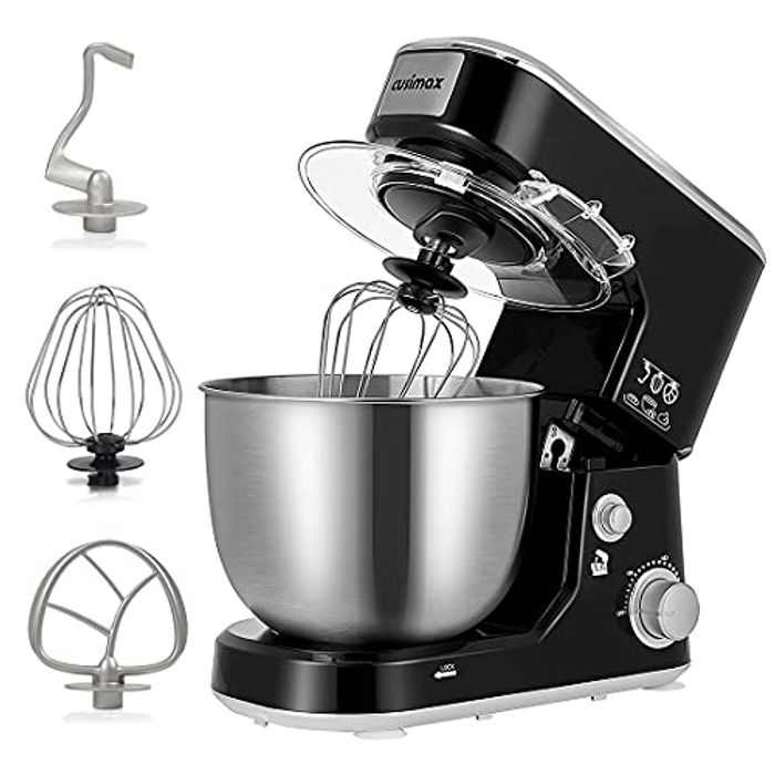 Mixer, Cusimax Stand Mixer, Food Mixer with 5L Stainless Steel Bowl, Tilt-Head Cake Mixer for baking with Dough Hook, Beater and Whisk, Splash Guard, Electric Mixer, Black