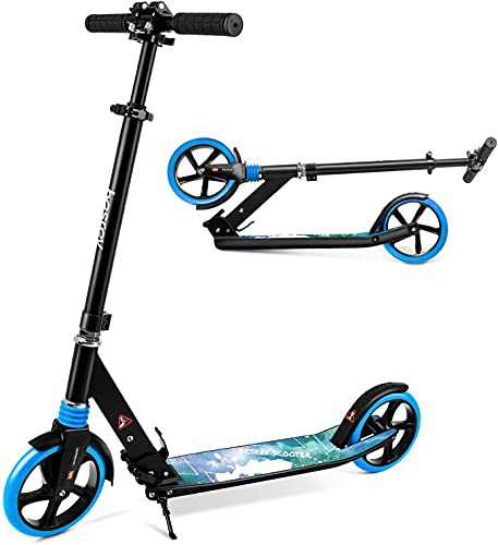 """besrey Kick Scooters for Kids 8 Years and up + Scooter Shoulder Strap - Foldable Scooter with 8"""" Big Wheels, Height Adjustable, 220 Lbs Weight Capacity Great Scooters for Adults and Teens"""
