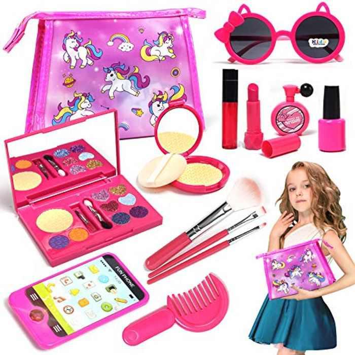Lehoo Castle Pretend Makeup Sets for Girls, Girls Makeup Set for Little Girls with Pink Purse, Smartphone, Sunglasses, Birthday Gift for Little Girls, Kids Make Up for Girls Age 4-6