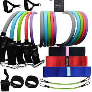 Resistance Bands with Handles Set Bundled with Loop Bands Fabric Booty Bands Cloth Leg Butt Door Anchor Squat Hip Circles Glute Bands Exercise Bands Workout Bands Fitness Thigh Pro Resistance Training