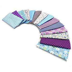 14-Pack Light-Weight Cotton Lawn Fabric Fat Quarter for Kids Sewing Beginner to Practice Cutting and Sewing (9.8x9.8 inch, Blue&Purple)