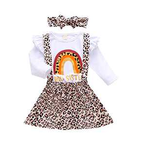 Baby Girls Sister Matching Outfits Big Kids Little Big Sister Long Sleeve Top Romper + Sister Leopard Print Skirt Clothes Set