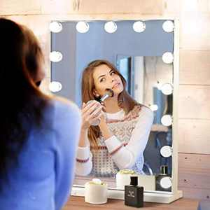 "Large Vanity Mirror with Lights, LED Hollywood Makeup Mirror with 15 Dimmable 3 Colors Light, Dressing Tabletop & Wall Mounted Beauty Mirrors, USB Charging Port, Bedroom Cosmetic Mirror 18""x 24"""