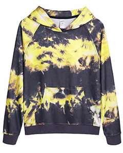 G4Free Womans Hoodies Tops Tie Dye Print Long Sleeve Pullover Sweatshirts with Pockets Tunic Top Casual Work Sports Wear (Yellow-Grey Tie Dye, L)