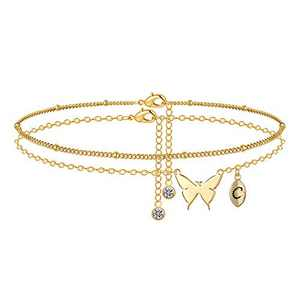 M MOOHAM Dainty Butterfly Anklets for Women, Initial Ankle for Women Gold Anklets for Women Butterfly Anklet Initial Anklets Bracelets for Women Gold Jewelry(C)