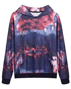 G4Free Women's Pullover Hoodie Sweatshirts Color Block Long Sleeve Casual Top Shirts with Pockets for Work Office Sports(Blue-Red Tie Dye, L)