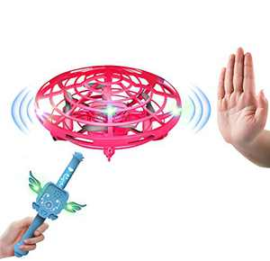 IOKUKI Hand Operated Drones for Kids or Adults with Magic Wand Double Control Flying Toy Hand Free Mini Drone Flying Ball with Magic Sound for Girls and Boys Easy Indoor and Outdoor dron (Pink)