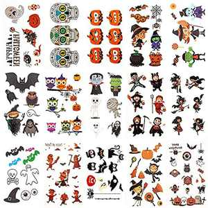 ZIIDOO 400 PSC Halloween Temporary Tattoos Kids, Non-Toxic Fake Tattoos Stickers for Girls Boys, Transfer Tattoo Children Favors and Treats for Halloween Activities, Party Accessories, Goodie Bag