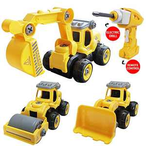SZJJX 3 in 1 Construction Truck Toys Cars Take Apart Toys Converts to Remote Control Car Kids DIY Stem Building Blocks Toy for 6 Year Boys and Girls Gift with Electric Drill Toys