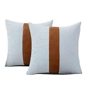 HONGUNIA Boho Throw Pillow Covers Farmhouse Striped Decorative Throw Pillows for Couch Living Room Faux Leather Stitching Accent Cushion Ticking Pillowcases Pack of 2, Blue and White, 18 x 18 Inch