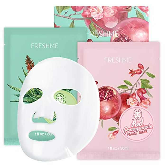 Fruit facial mask 6 pieces - Moisturizing anti-aging Red Pomegranate Moist Sheet Mask and Aloe Vera Moisturizing Mask Pure natural Nourishes moisturizes tightens pores supple FRESHME