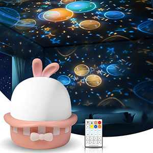 Star Night Light Projector with Timer and Remote Control, USB Rechargeable Starry Galaxy Night Light Projector with 8 Musics and 8 Projector Filmsfor Kids Adults Room Party Decoration