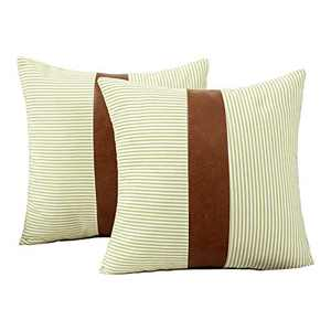 HONGUNIA Boho Throw Pillow Covers Farmhouse Striped Decorative Throw Pillows for Couch Living Room Faux Leather Stitching Accent Cushion Ticking Pillowcases Pack of 2, Yellow and White, 18 x 18 Inch