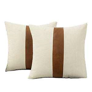 HONGUNIA Boho Throw Pillow Covers Farmhouse Striped Decorative Throw Pillows for Couch Living Room Faux Leather Stitching Accent Cushion Ticking Pillowcases Pack of 2, Coffee and White, 18 x 18 Inch