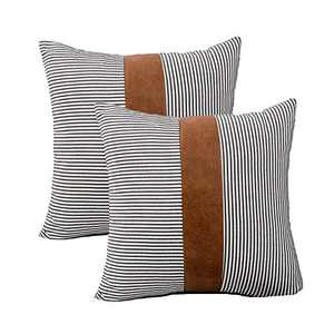 HONGUNIA Boho Throw Pillow Covers Farmhouse Striped Decorative Throw Pillows for Couch Living Room Faux Leather Stitching Accent Cushion Ticking Pillowcases Pack of 2, Black and White, 18 x 18 Inch