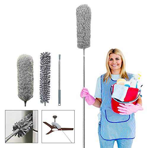 Telescoping Microfiber Duster,1 Stainless Steel Pole & 2 Cleaning Head,Ceiling Fan Duster,Bendable Washable Head,30-100inch,for Cleaning Roof, Blinds, Cobwebs, Corners,Furniture,Car,Skylight(Gray)