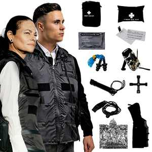 FIRST MINUTE VEST personal emergency kit at only 4Ibs, fire-resistant waterproof preparedness lightweight vest for fast mobility during hurricane, earthquake, disaster. Premium gift in a black box