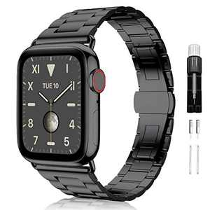Compatible with Apple Watch Band 42mm 44mm, Aralana Upgraded Version Solid Business Stainless Steel Metal Replacement Wristband with Butterfly Folding Clasp for iWatch SE Series 6/5/4/3/2/1, Black