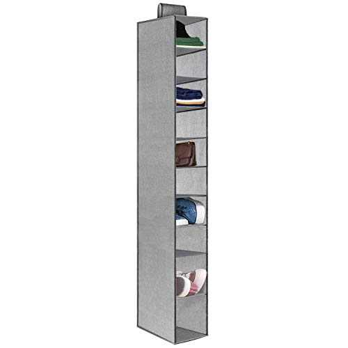 """10 Shelves Hanging Shoes Organizer, Foldable Hanging Closet Organizer with 2 Widened Shelf, Hanging Shoe Holder and Storage for Shoes, Purses, Handbags, 51"""" H x 12"""" D x 6"""" W"""
