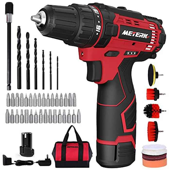 """Cordless Drill Kit, Meterk 50PCS Combi Drill Set,12V Electric Screwdriver with Built-in LED, Cleaning Drill Brush Kit, Max Torque 25Nm, 2-Speed, 3/8"""" Chuck, Carrying Bag,for Home Clean, Drilling, DIY"""