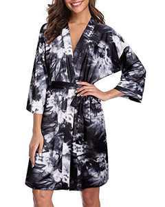 GOOTUCH Women Kimono Robes Lightweight Soft Bathrobe Ladies Nightwear Sleepwear Loungewear(Floral 05,XL)