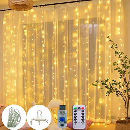300 LED Curtain Fairy Lights,Wire with Laminated Design, 8 Lighting Modes Plug in with Remote Control for Wedding Party Home Garden Bedroom Outdoor Indoor Wall Decorations (1, Warm White)