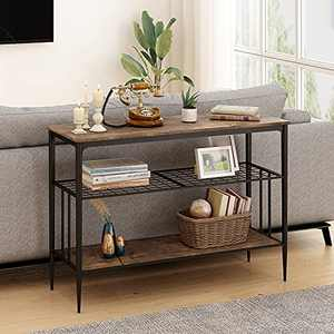HOMYSHOPY Sofa Table with Storage Shelves, 3-Tier Industrial Entryway Table, Long Console Table for Hallway, Living Room(Vintage Brown, 47 Inch)