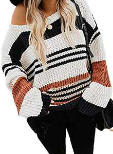 LOSRLY Womens Juniors Long Sleeve Color Block Pullover Sweaters Winter Warm Chunky Knit Blouses Loose Tops Black Medium
