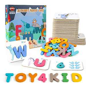VATOS Number Alphabet Flash Cards for Toddlers Age 2 3 4 Years Old Wooden Letters & Numbers Flashcards ABC Montessori Toys Preschool Educational Learning Puzzles for Kids