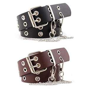 CHIC DIARY Double Grommet Belt Womens PU Leather Punk Waist Belt Rock Belt with Chain for Jeans Costume (Black+Brown)
