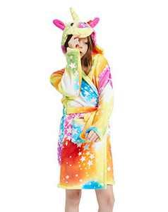 Unicorn Robe Soft Hooded Bathrobe Sleepwear Unicorn Gifts for Girls (Rainbow Unicorn, 6-7 Years)