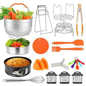Instant Pot Accessories, WHITE TIGER 22 Pcs Accessories for 6Qt Instant Pot, 2 Steamer Basket, Springform Pan, Egg Steamer Rack, Kitchen Tong, Silicone Pad, Magnetice Cheat Sheets etc.