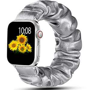 Muranne Scrunchie Bands Compatible with Apple Watch Band SE 42mm 44mm iWatch Series 6 5 4 3 2 1 for Women Men Sliver 42mm/44mm Large