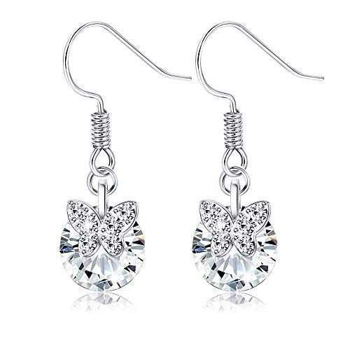 Sllaiss S925 Sterling Silver Small Butterfly Earrings for Women Rotatable Cubic Zirconia Dangle Earrings Dainty Butterfly Drop Dangle Earrings Round-Cut CZ 3.0 ct