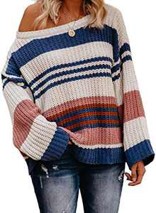 LOSRLY Womens Color Block Sweaters Oversized Crewneck Striped Long Sleeve Loose Chunky Knitted Pullover Jumper Tops Blue XX-Large