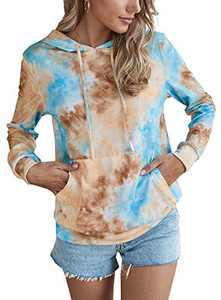 Women's Tie Dye Hoodies Lightweight Sweatshirt Casual Long Sleeve Drawstring Hooded Pullover Tops w Pocket Orange M