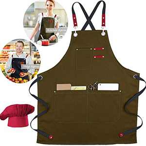 XAITE Chef Apron with Hat Kitchen Apron Canvas Cross Back Adjustable Apron for Men Women Cooking Apron for Baking BBQ Grilling