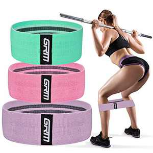 GRM Resistance Bands Set Fitness Booty Loop Bands, Non-Slip Fabric Hip Workout Bands for Women Men, Exercise Bands for Home Exercise, Pilates, Yoga, Stretching, Wide Glute Hip Bands