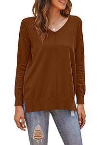 PLMOKEN Women's Winter V-Neck Cozy Casual Sweater(XL, Caramel)
