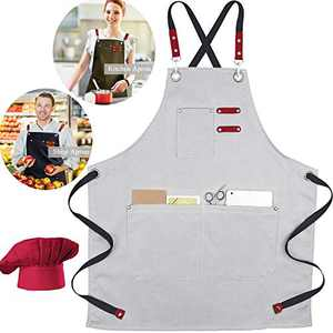 XAITE Chef Apron,Cross Back Adjustable Apron with Free Chef Hat Soft Canvas Cooking Apron Grilling Apron for Kitchen Baking BBQ